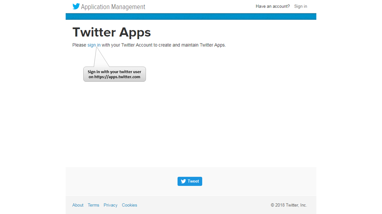 Create Twitter App with Application Access Keys