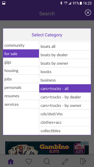 category selection craigslist android app